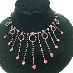 VINTAGE PINK AND BLACK METAL NECKLACE AND EARRINGS